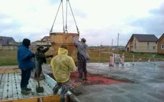 Заливка бетона в дождь