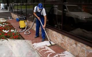 Очистка тротуарной плитки от цемента