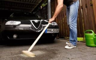 Удаление масляных пятен с бетона