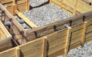 Установка опалубки арматурные связи и заливка бетона