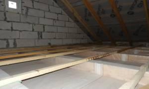 Пароизоляция чердачного Перекрытие по деревянным балкам