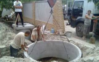 Установка бетонных колец вручную