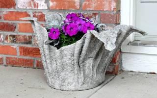 Как сделать вазоны из ткани и бетона?