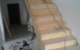 Установка деревянных ступеней на бетонную лестницу